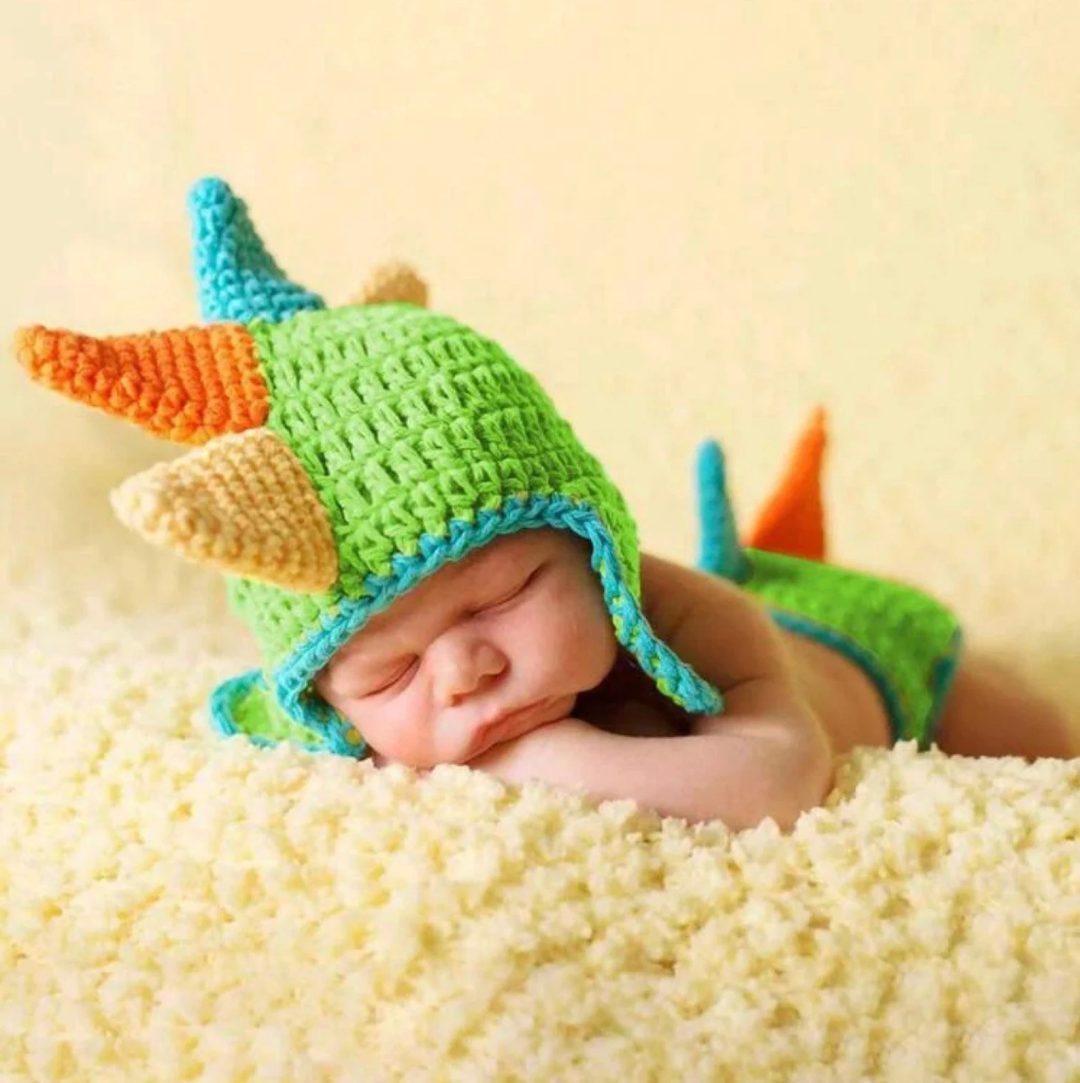 Best Newborn Halloween Costumes: Crochet baby dinosaur costume