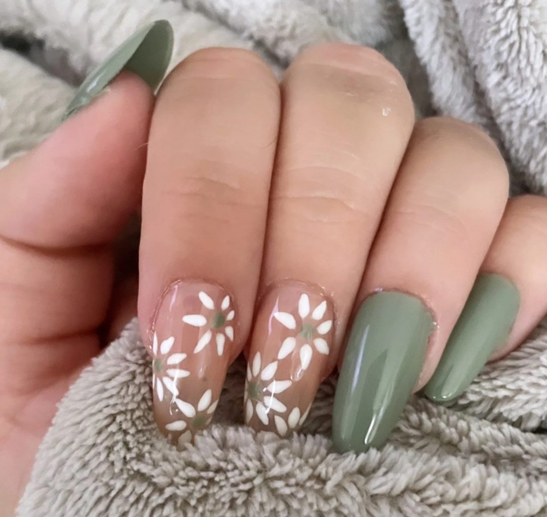 Sage green nails with flowers