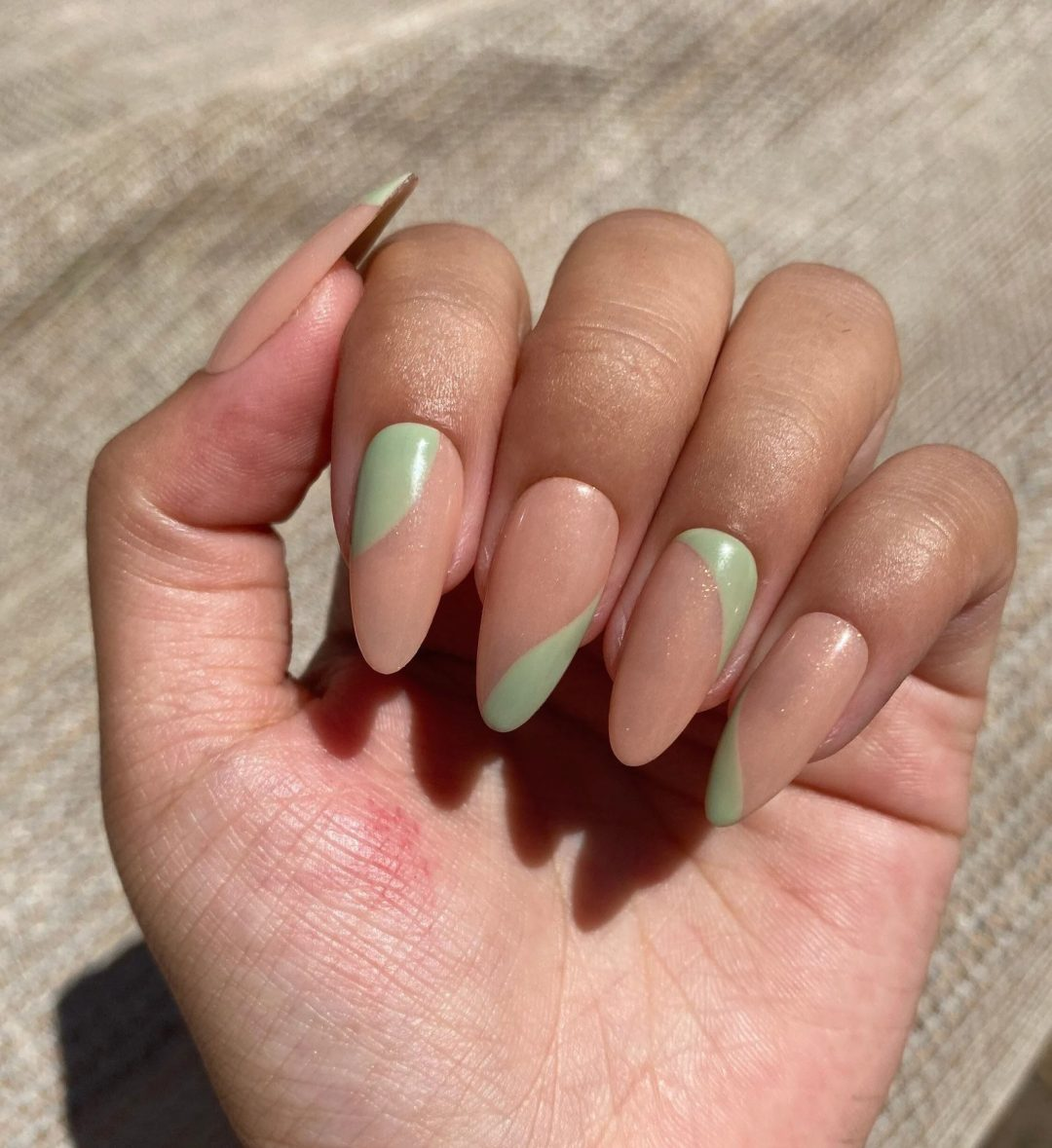 Sage green and nude nails