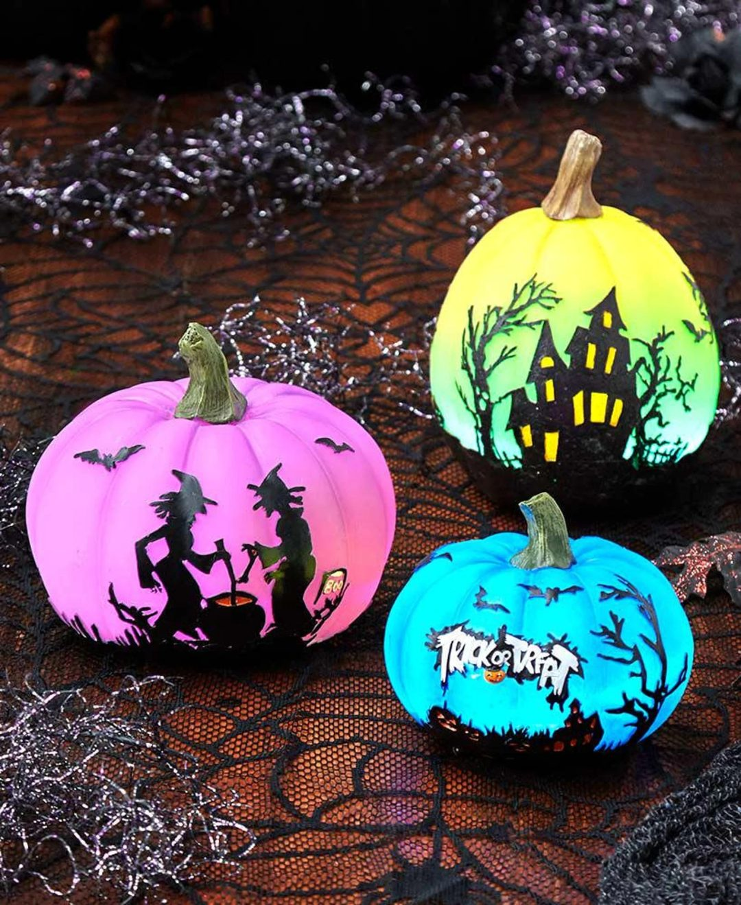 Colorful Lighted Pumpkins