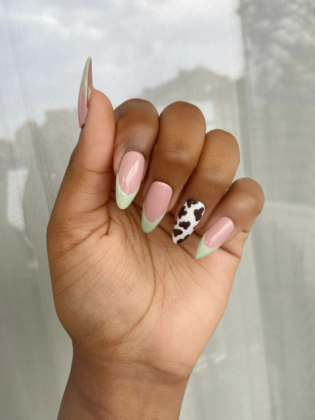 Sage green french tips with cow pattern
