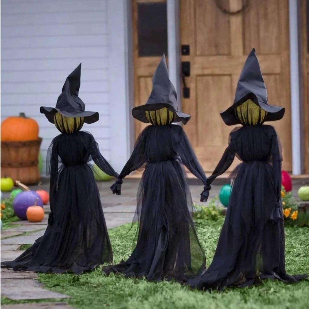 Black Garden Witches for best outdoor Halloween decorations