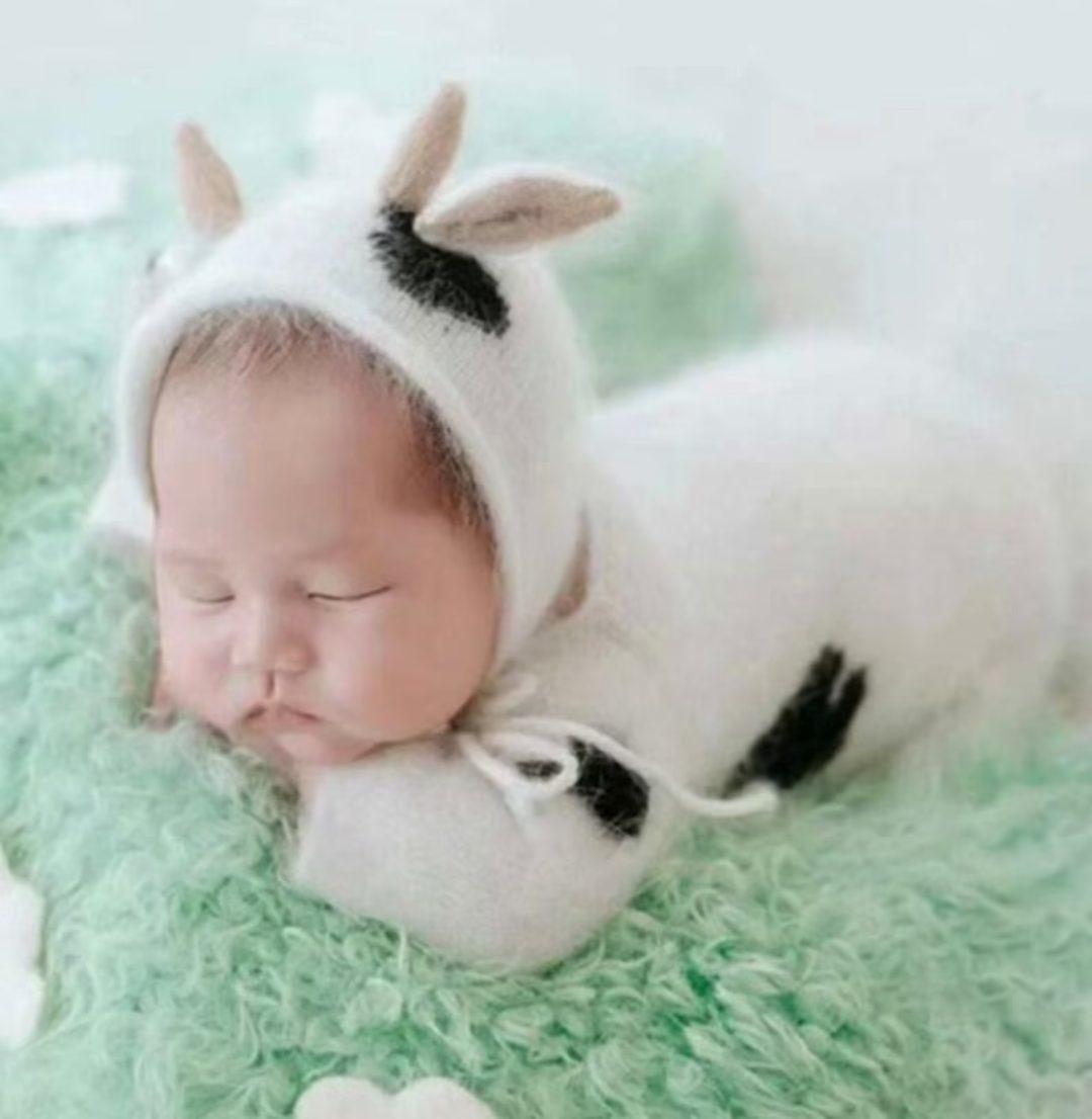 Fuzzy newborn cow costume