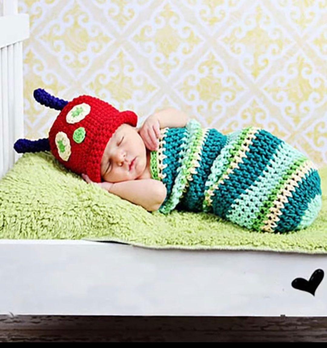Crochet newborn caterpillar costume