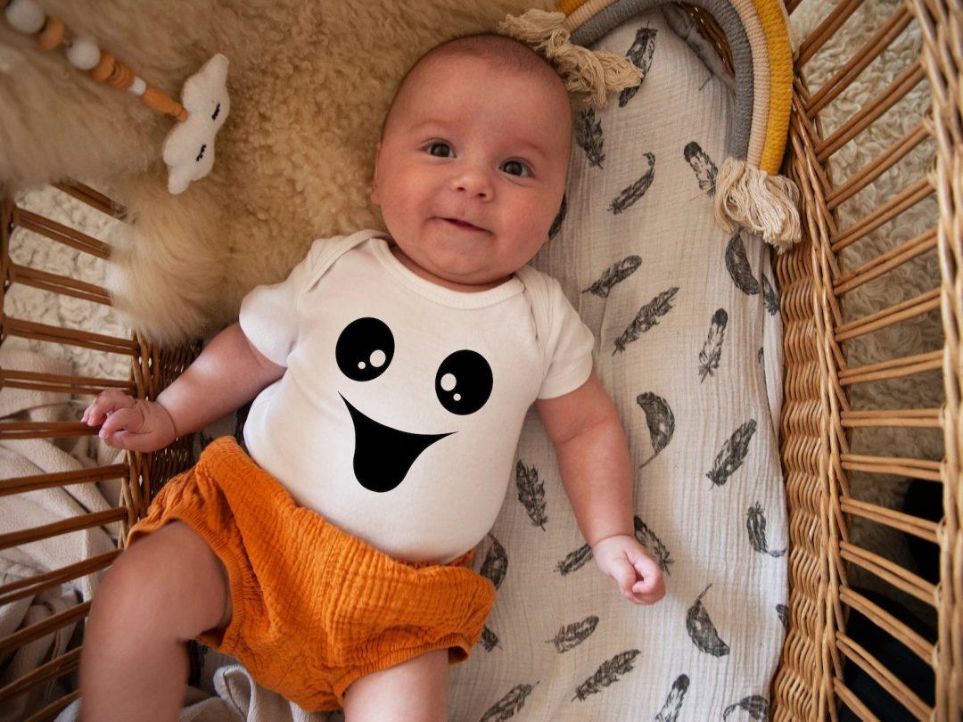 White baby ghost onesie