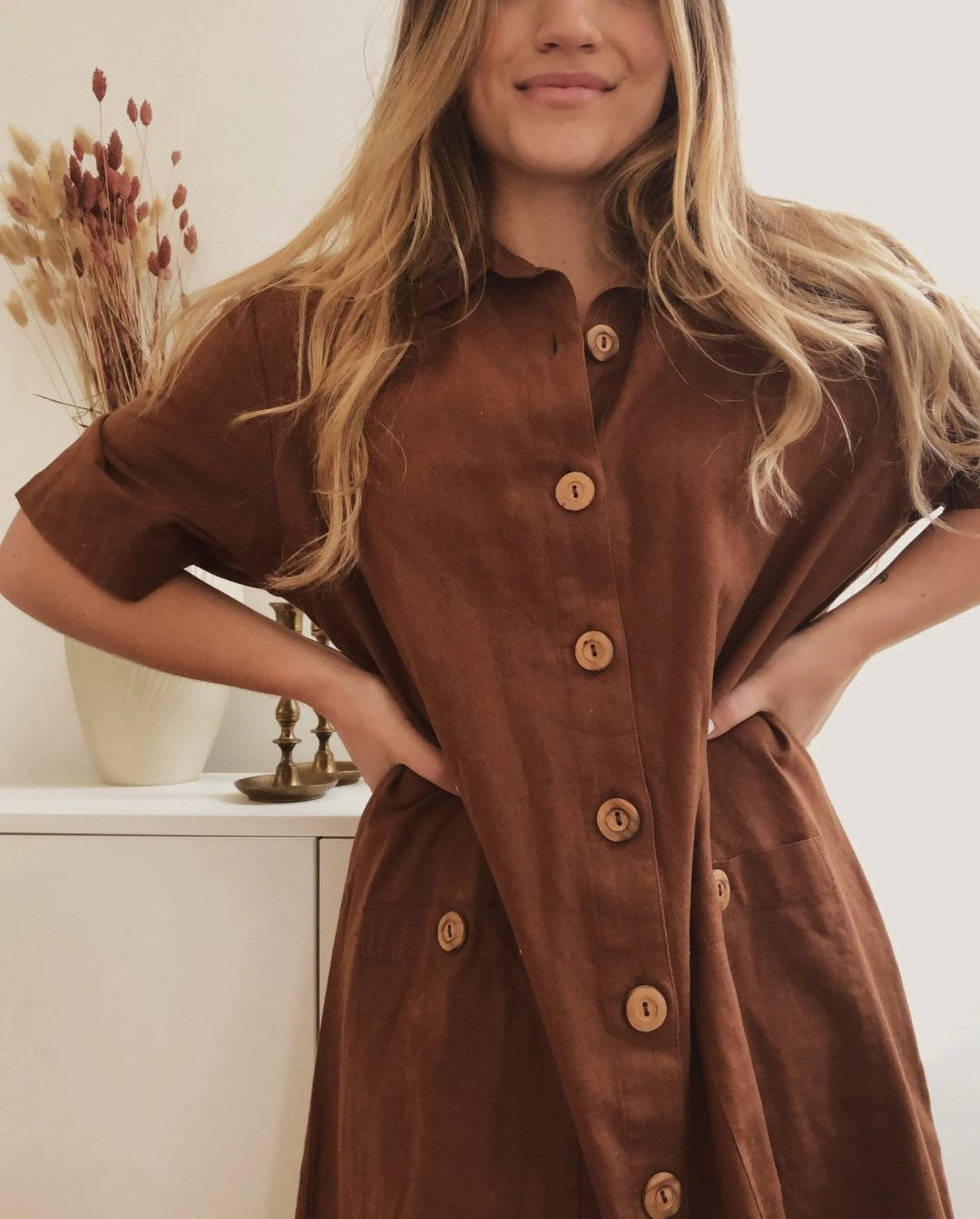 Deep brown linen dress for goblincore outfits