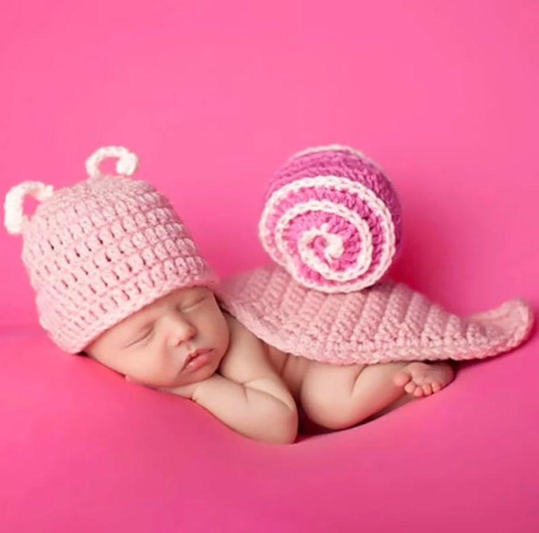 Crochet Pink snail costume