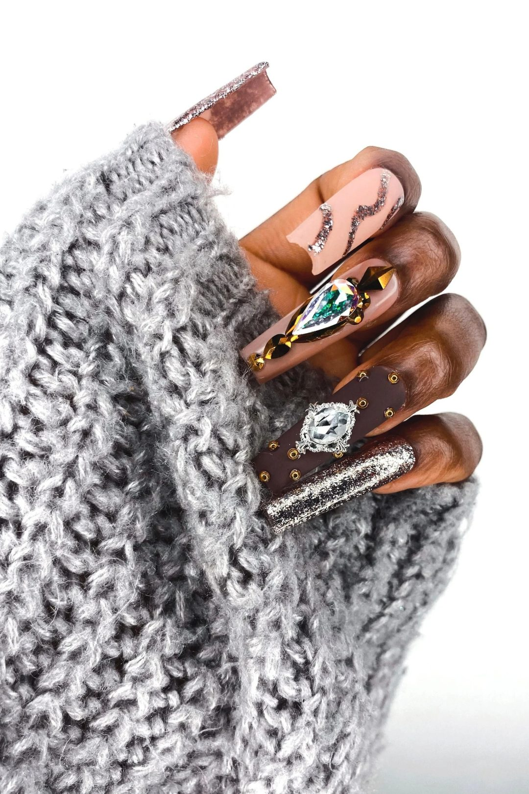 Brown square nails with rhinestones and glitter