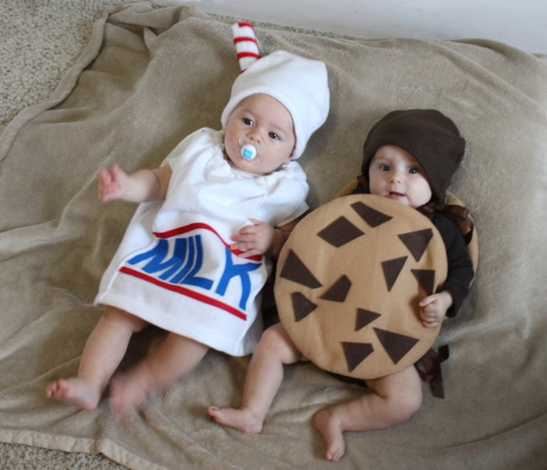 Matching milk and cookies costume