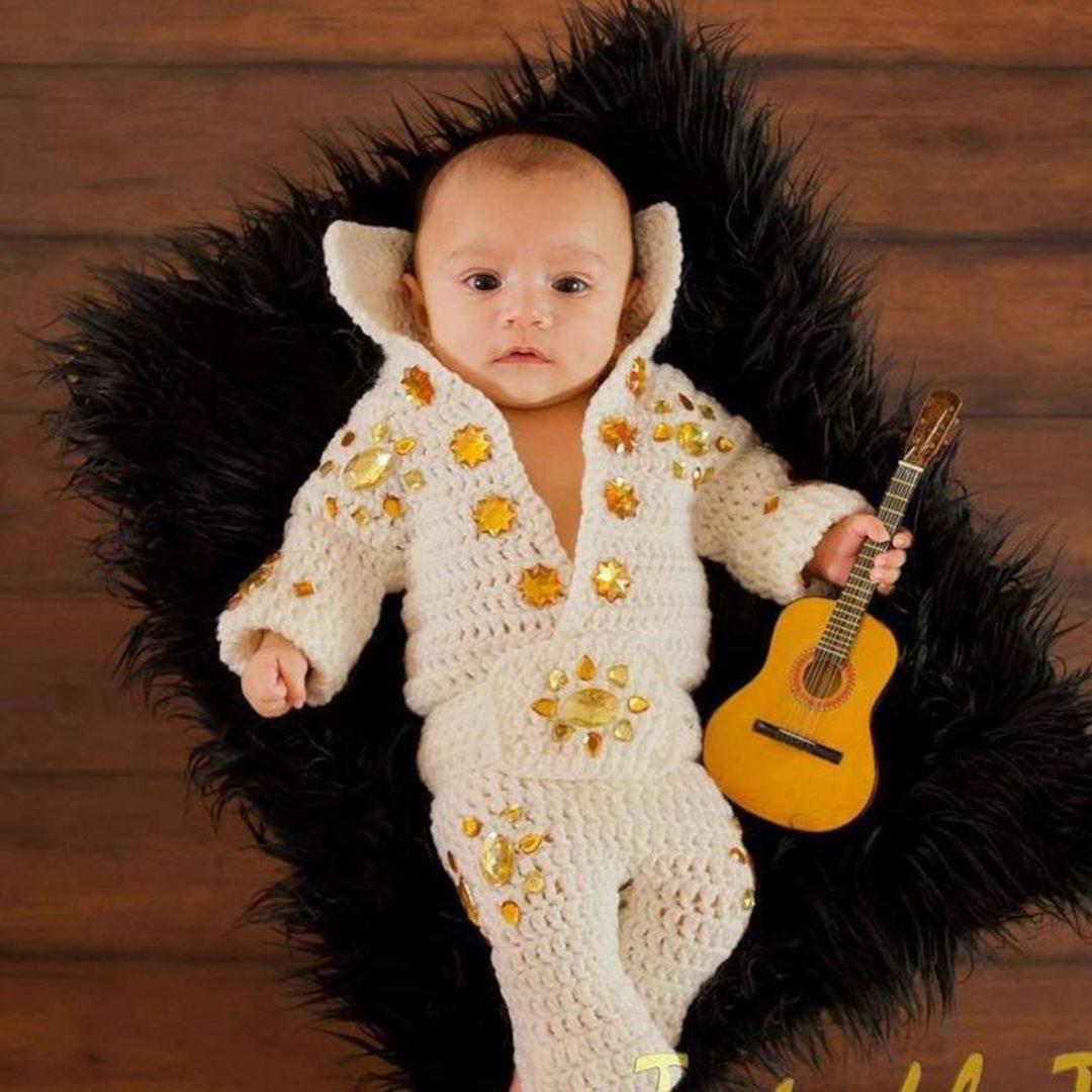 Best Newborn Halloween Costumes: Crochet baby elvis onesie with rhinestones