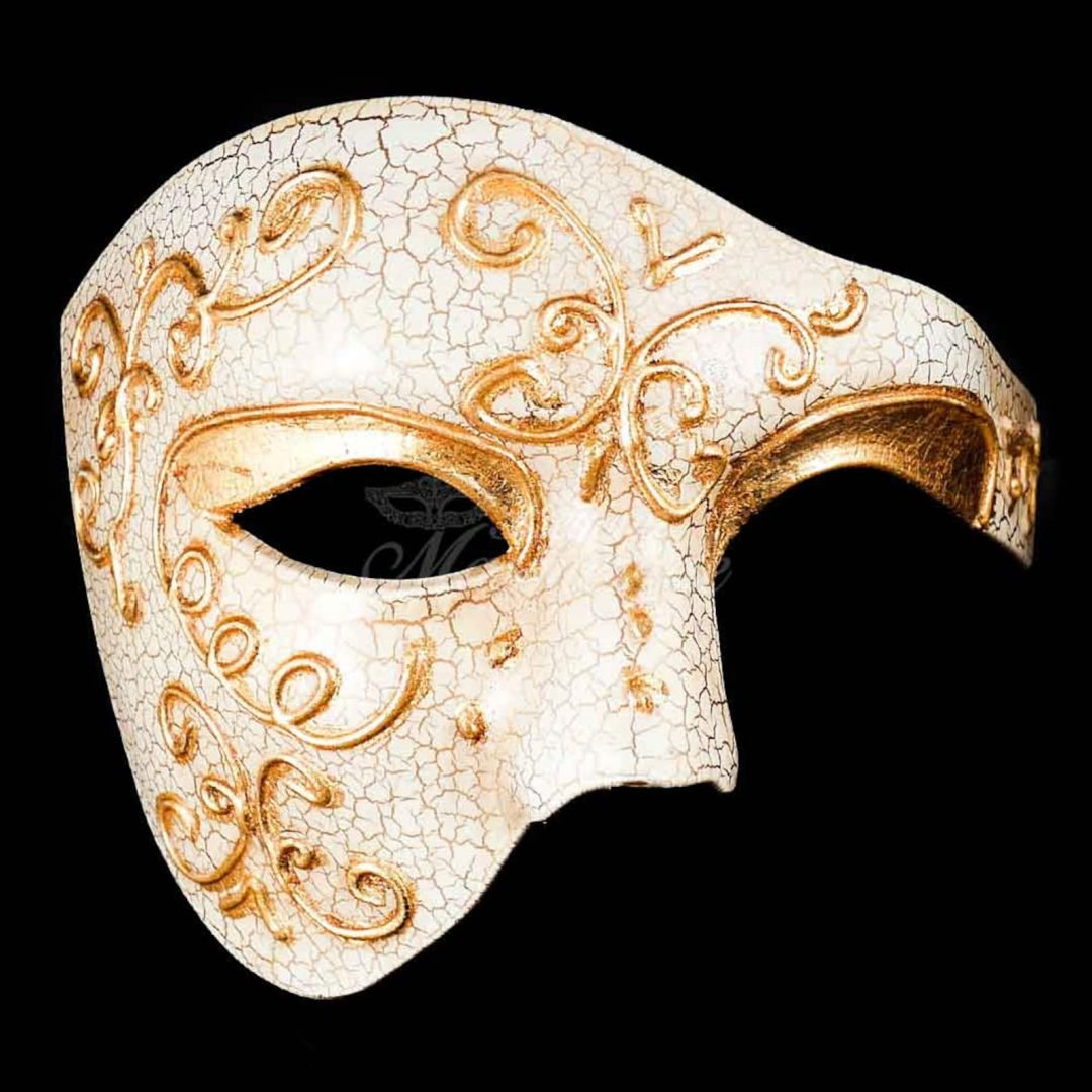 What to wear at a masquerade party: white and gold opera mask for men