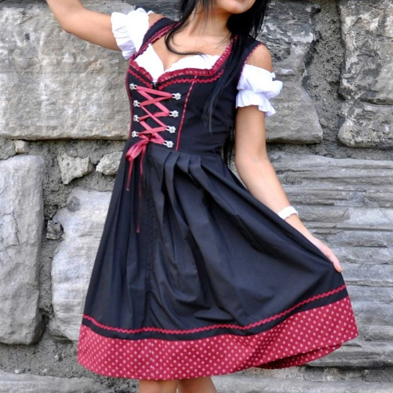 What to wear to an Oktoberfest party: Black and red oktoberfest dirndl dress