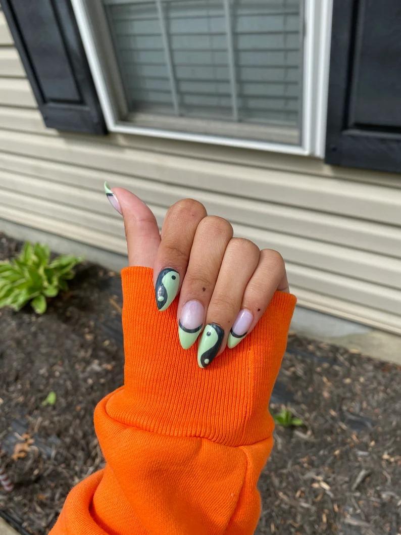Ying and yang sage green nails