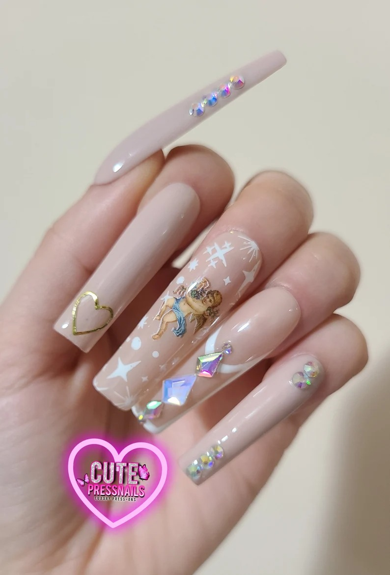 Nude angel square nails