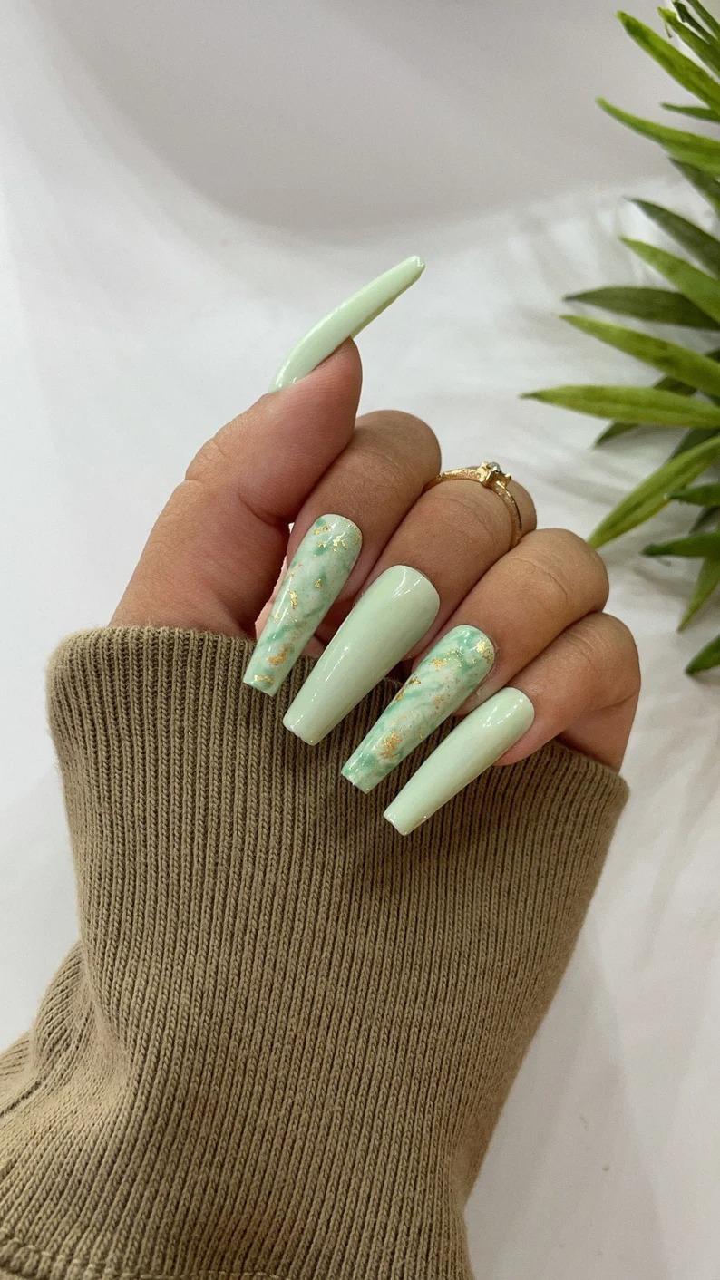 Sage green marble nails
