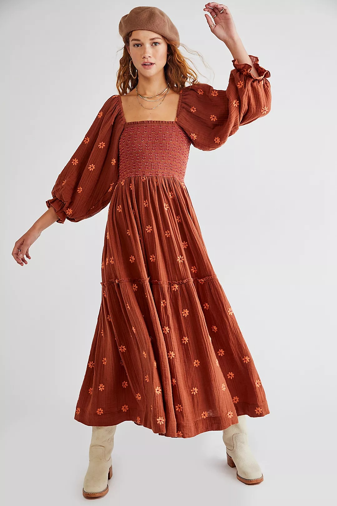 Terracotta retro printed maxi dress