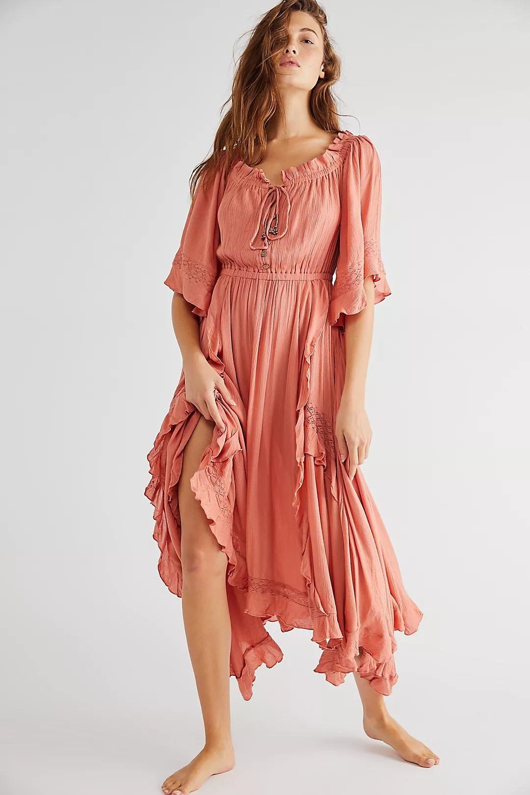 Pink flowy boho dress