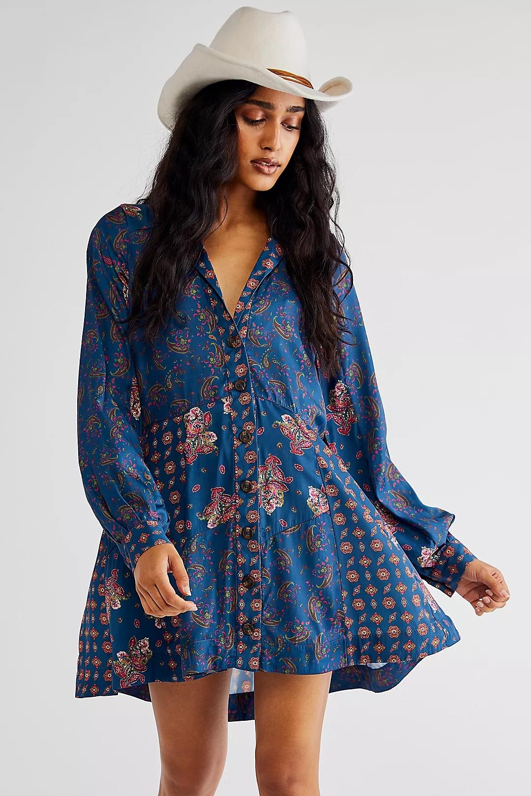 Blue retro printed mini flowy dress