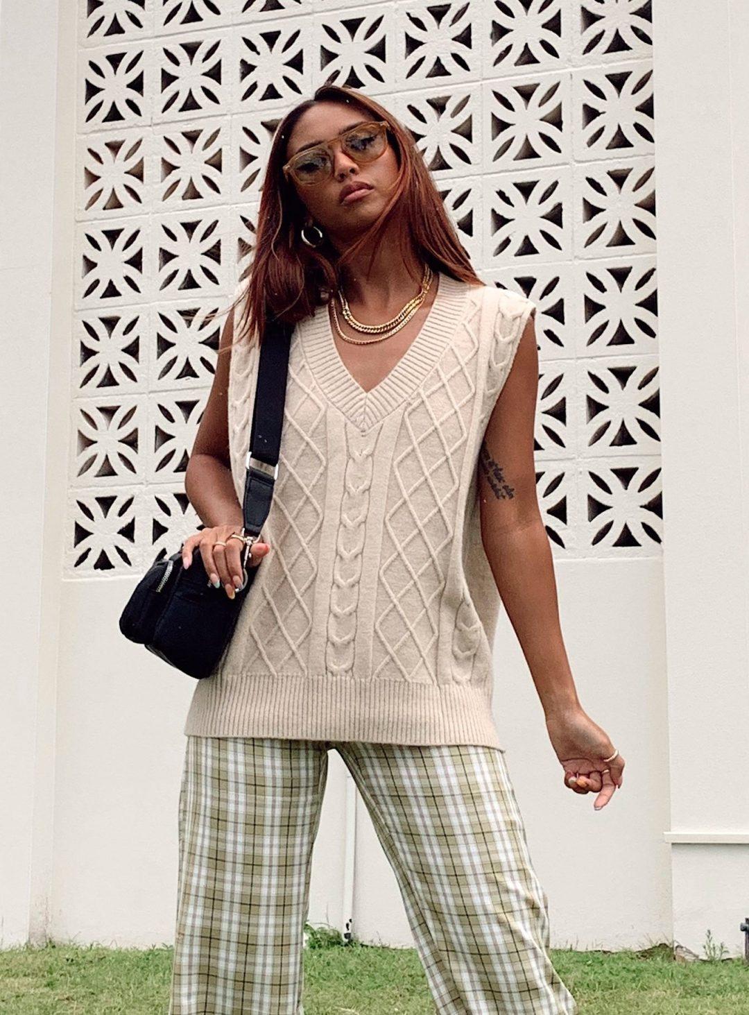 Cute beige knit vest with green plaid pants