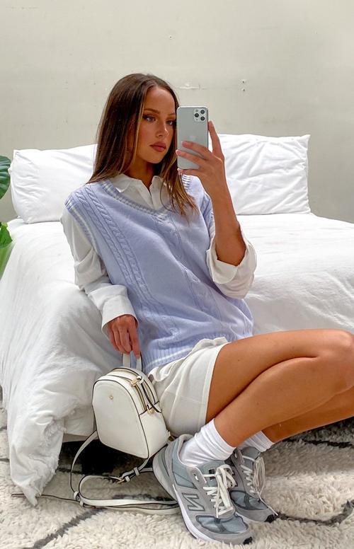 Cute lavender cable knit sweater vest outfit