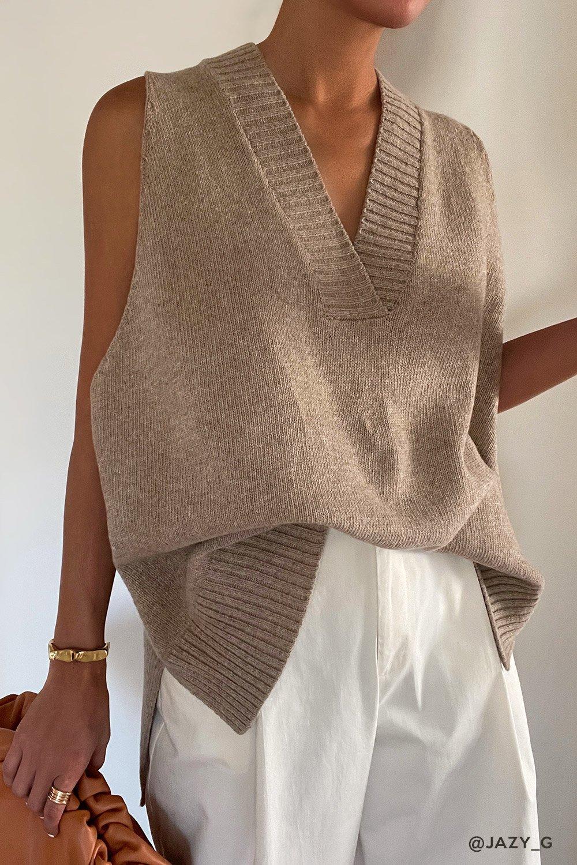 Cute beige knit vest outfit