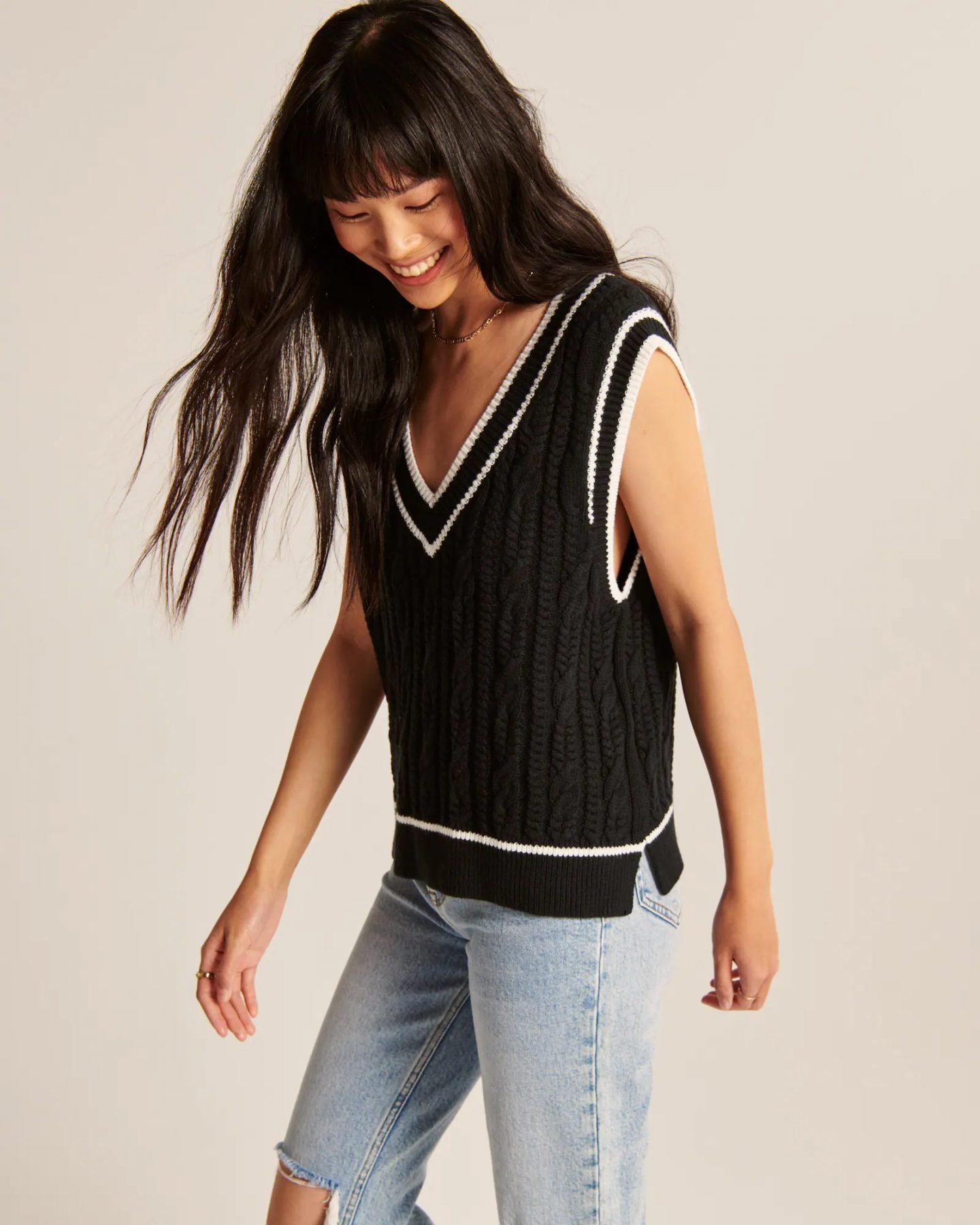 Black and white preppy vest
