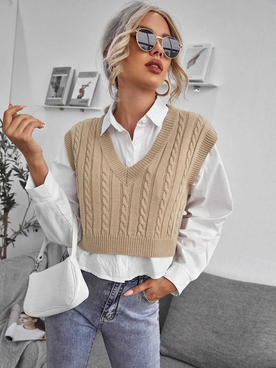 Cute light academia clothing with cable knit vest
