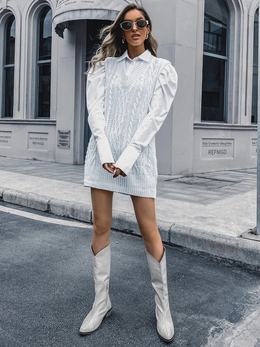 Cute light grey sweater dress for academia outfits