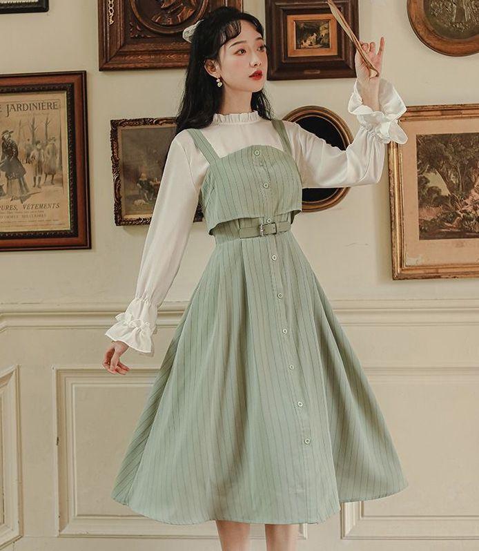 Sage green light academia dress