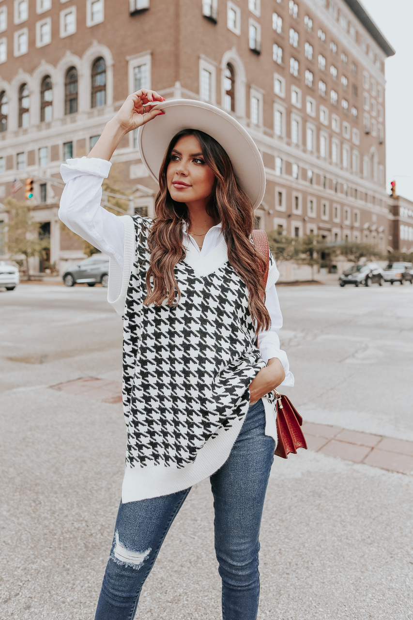 Houndstooth sweater vest outfit