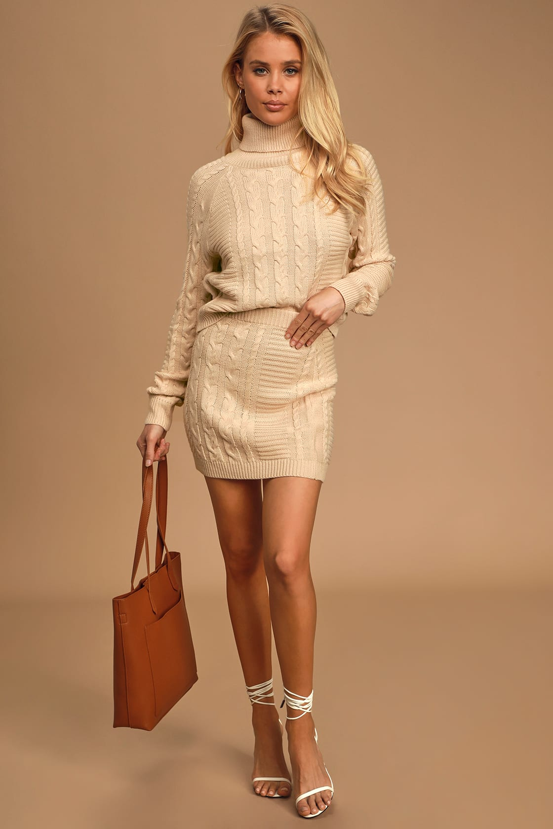 Matching crea, cable knit sweater and skirt set
