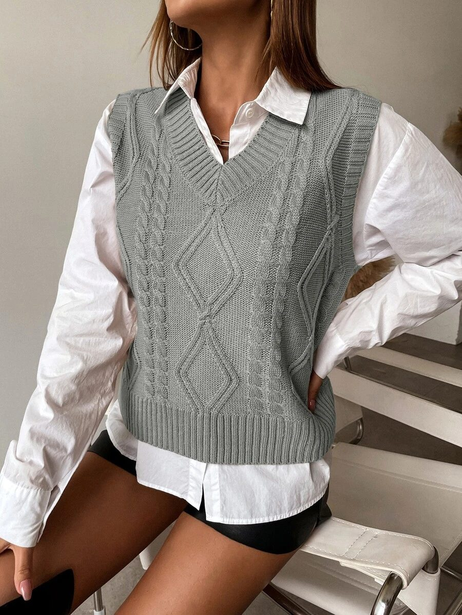 Light academia outfit with grey vest