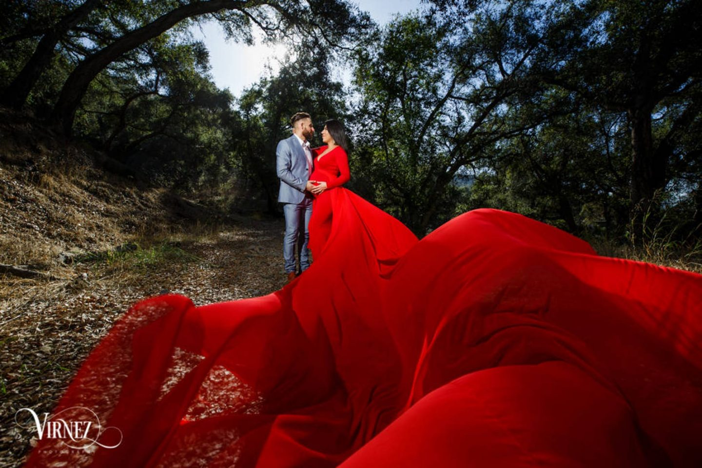 Red infinity gown for maternity photos