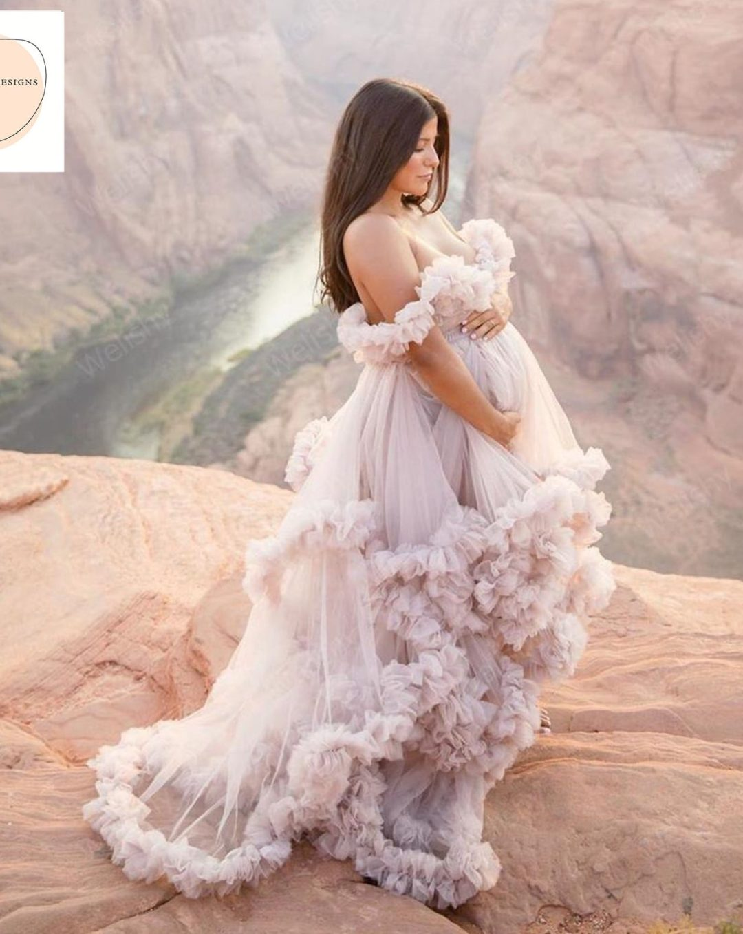 Dusty pink tulle maternity gown
