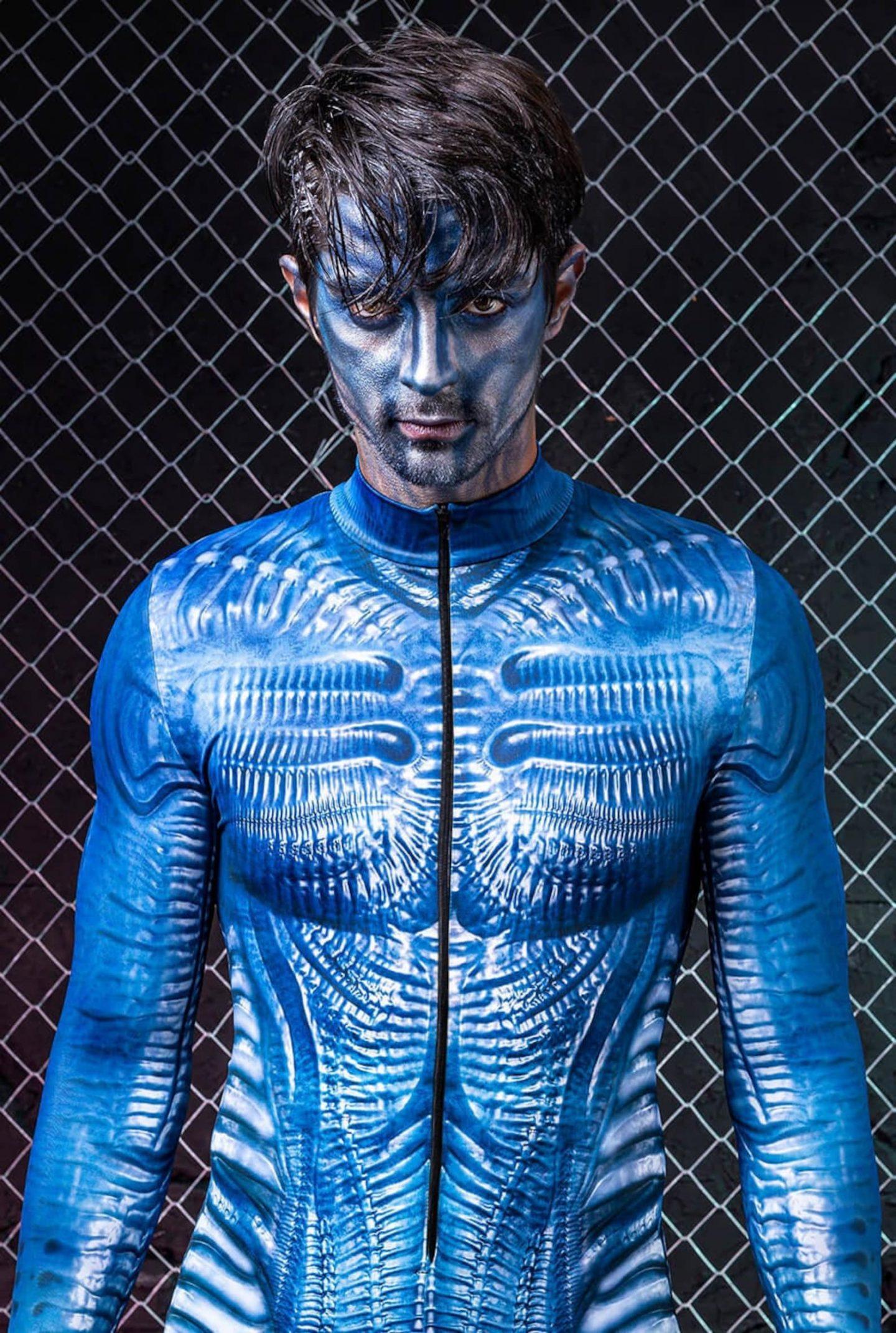 Blue sci-fi alien Halloween costume for men