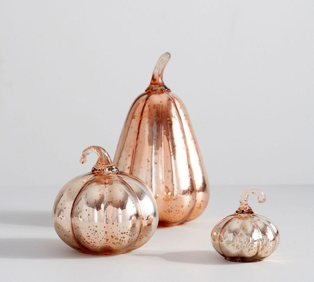 Rose Gold Glass Pumpkins