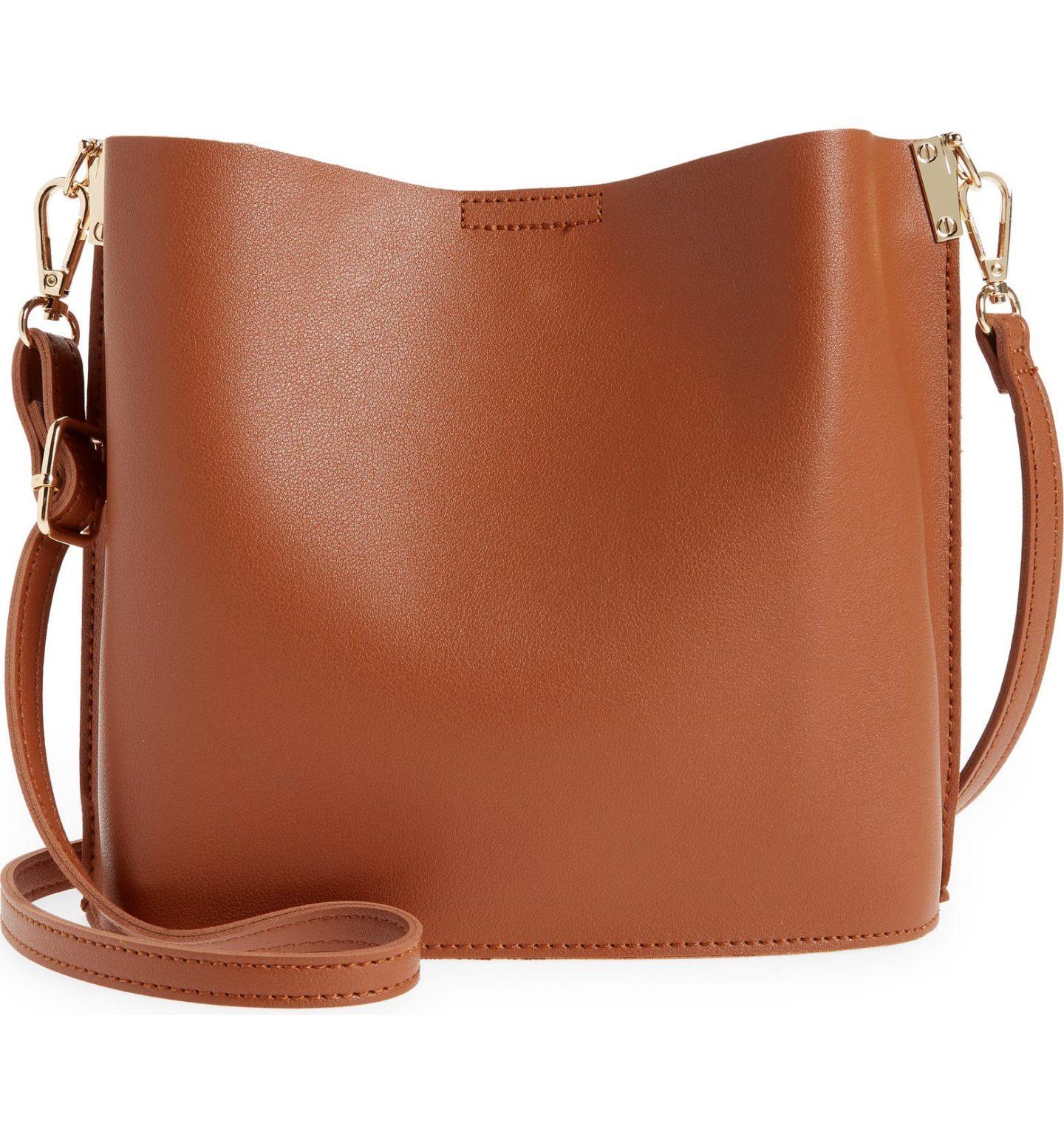 Tan camel minimalist crossbody purse