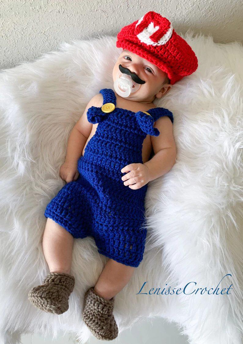 Crochet Super Mario newborn costume