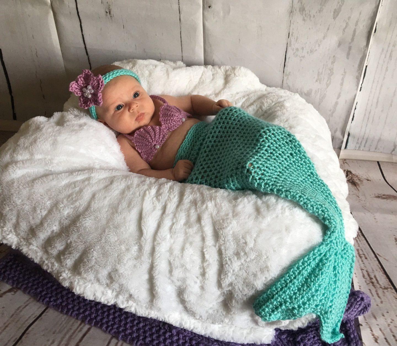 Crochet mermaid Halloween costume for newborns