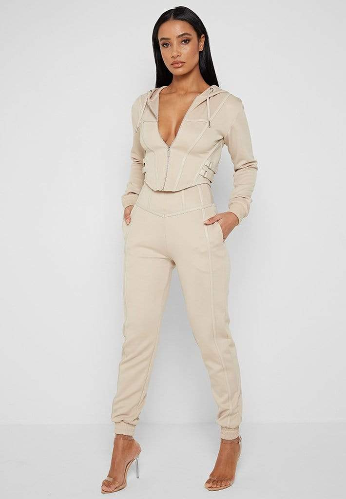 Beige or taupe corset hoodie outfit with joggers