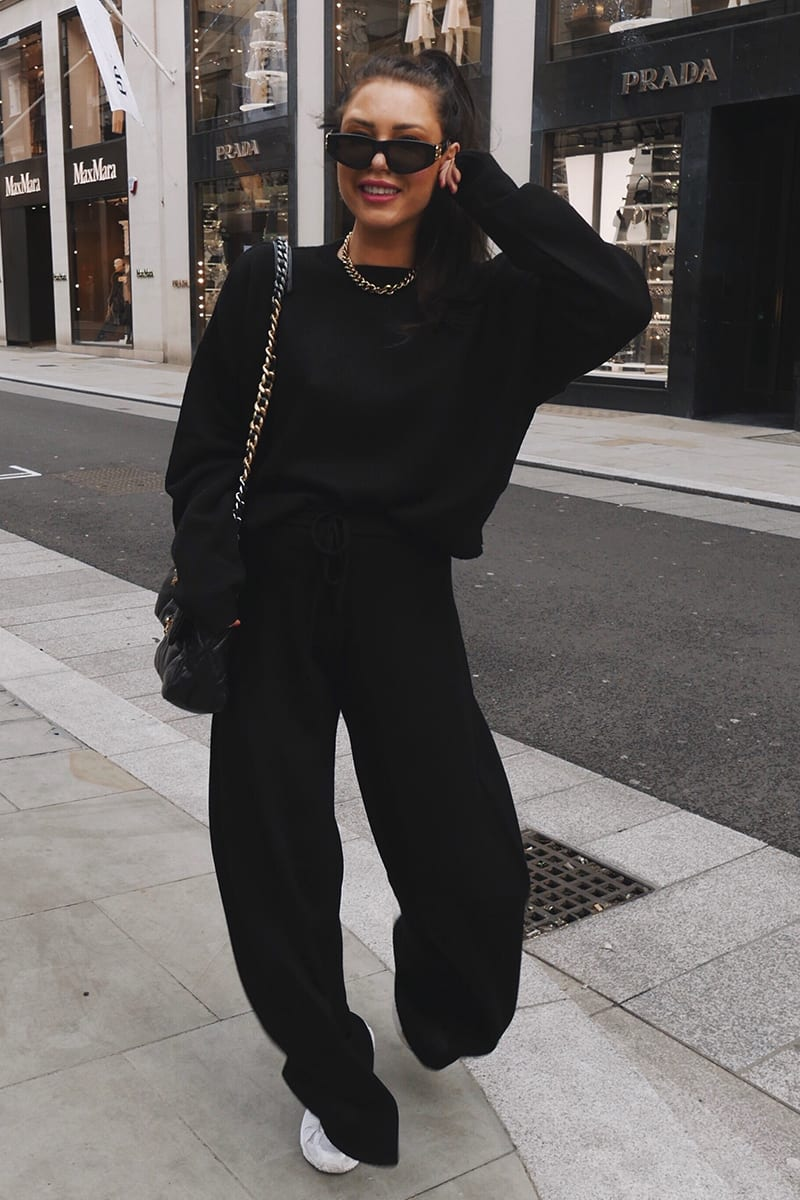 Black co-ord outfit with hoodie