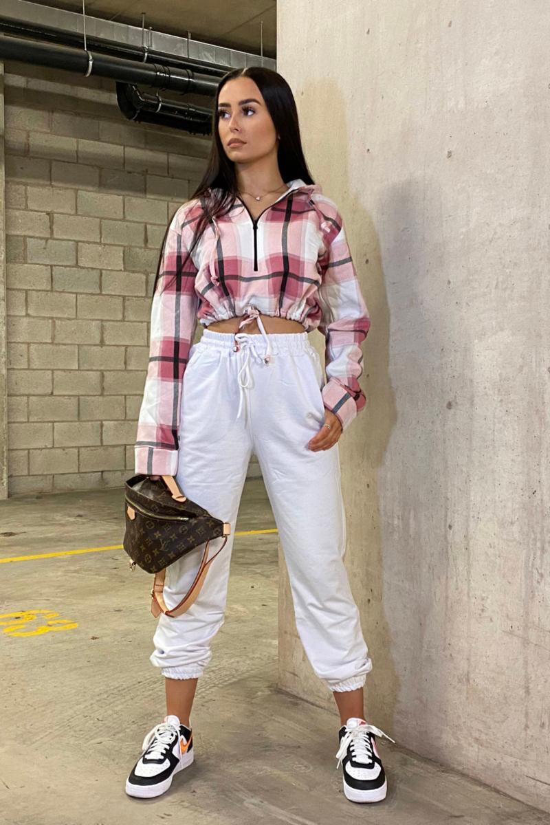 Cute pink check print hoodie