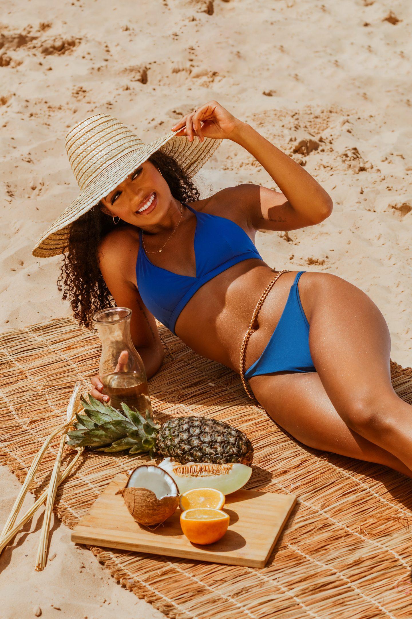 Girl in royal blue bikini
