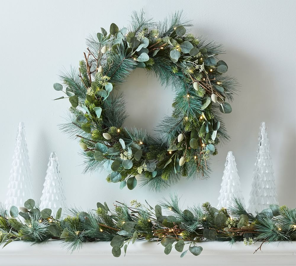 Faux Eucalyptus & Pine Mantel