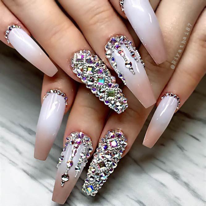 Cute nude ombre rhinestone nails