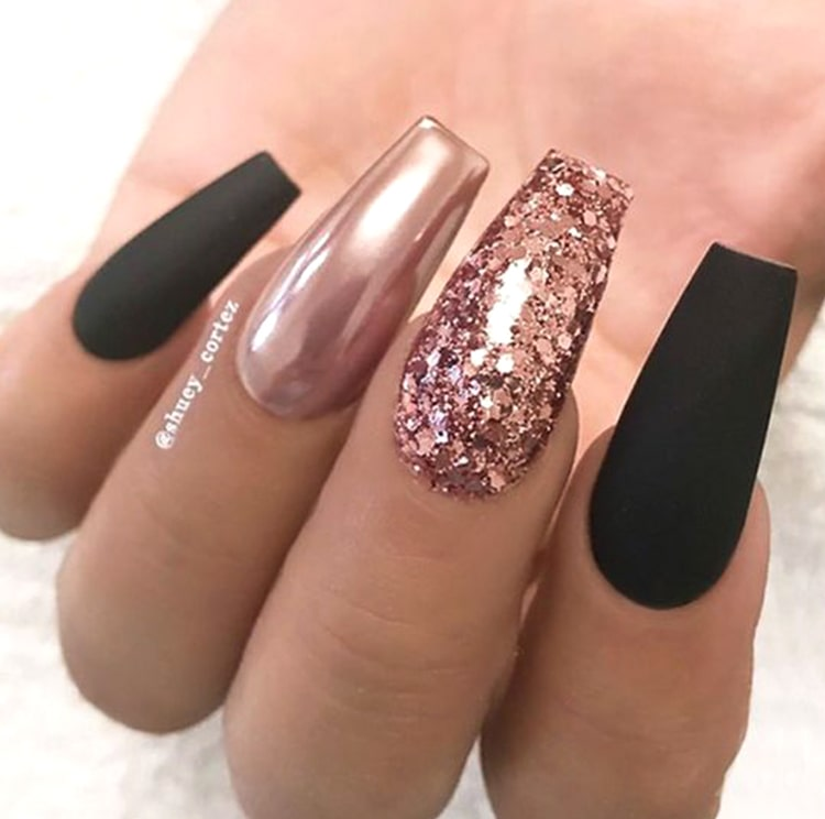 Matte black and rose gold coffin nails with glitter