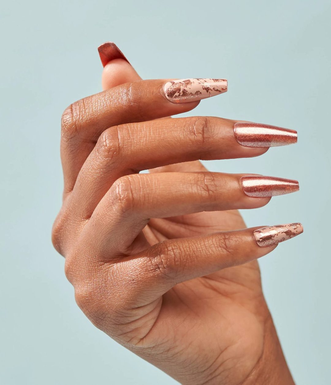 Long rose gold coffin nails