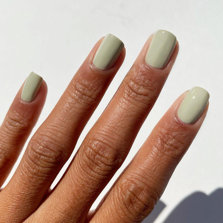Cute short sage green nail polish
