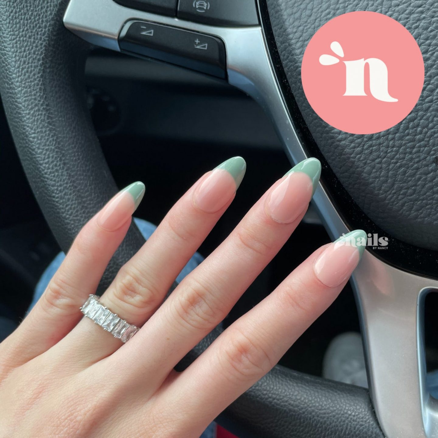Cute sage green French tip nails
