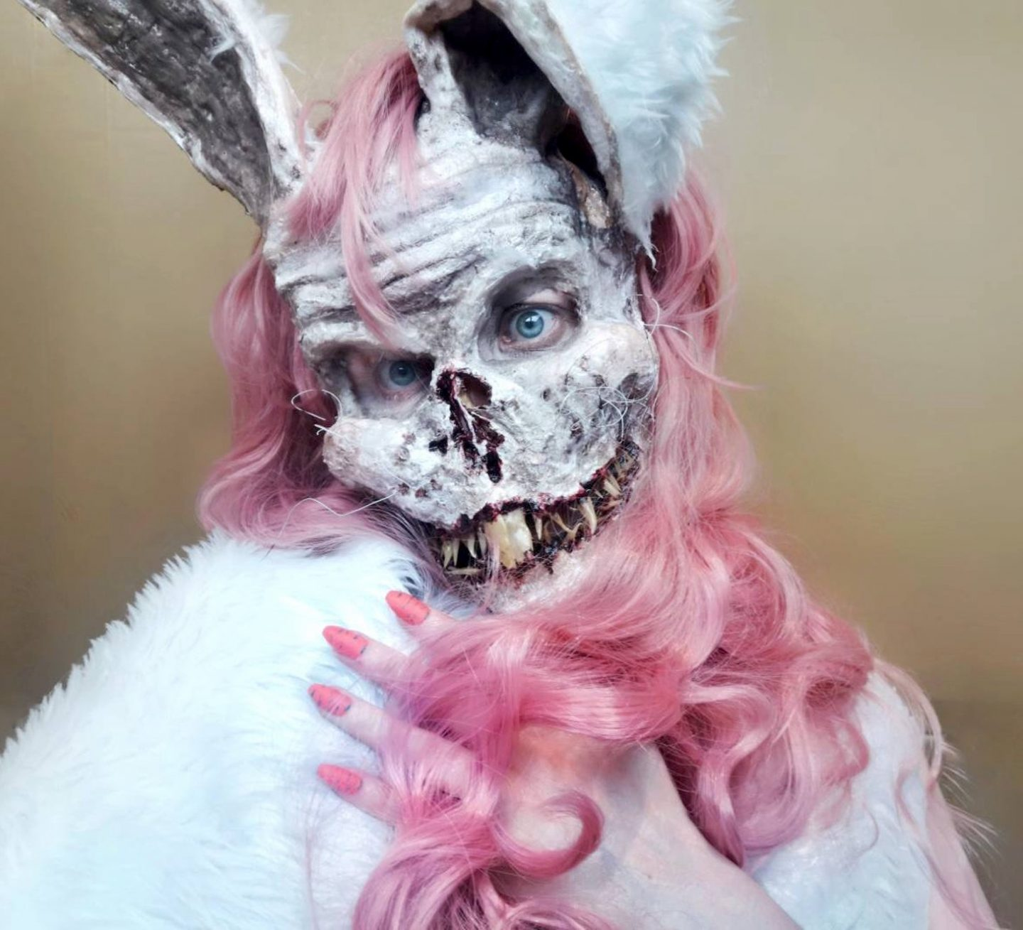 Evil scary bunny mask for Halloween